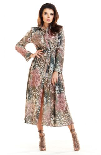 Sukienka midi z kołnierzykiem w zwierzęce wzory