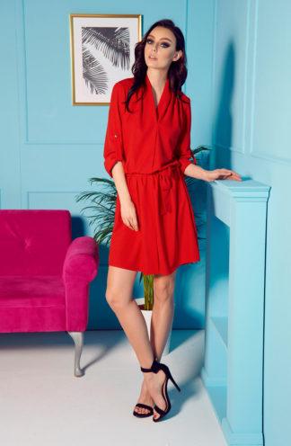 Sukienka z kopertowym dekoltem czerwona