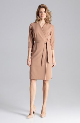 Biznesowa sukienka z kopertowym dekoltem brązowa