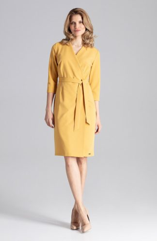Biznesowa sukienka z kopertowym dekoltem musztardowa