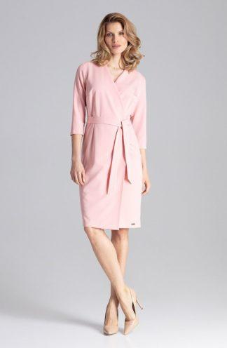 Biznesowa sukienka z kopertowym dekoltem różowa
