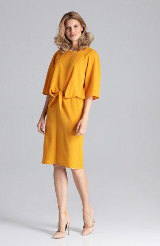 Biznesowa sukienka z wiązaniem musztardowa