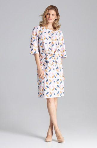 Biznesowa sukienka z wiązaniem we wzory