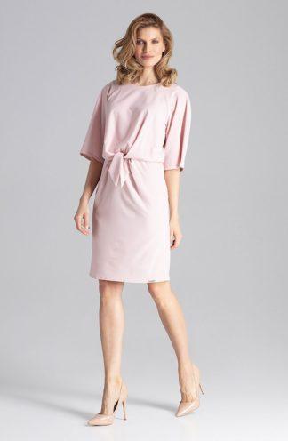 Biznesowa sukienka z wiązaniem różowa