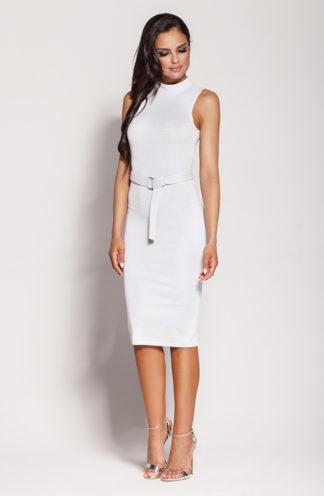 Ekskluzywna sukienka midi biała