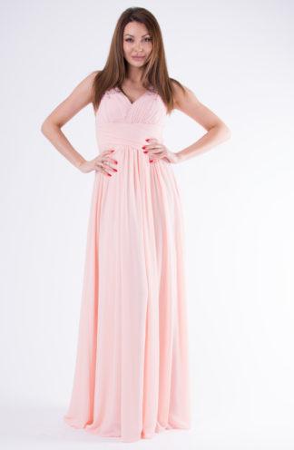 Długa suknia na ozdobnych ramiączkach róż