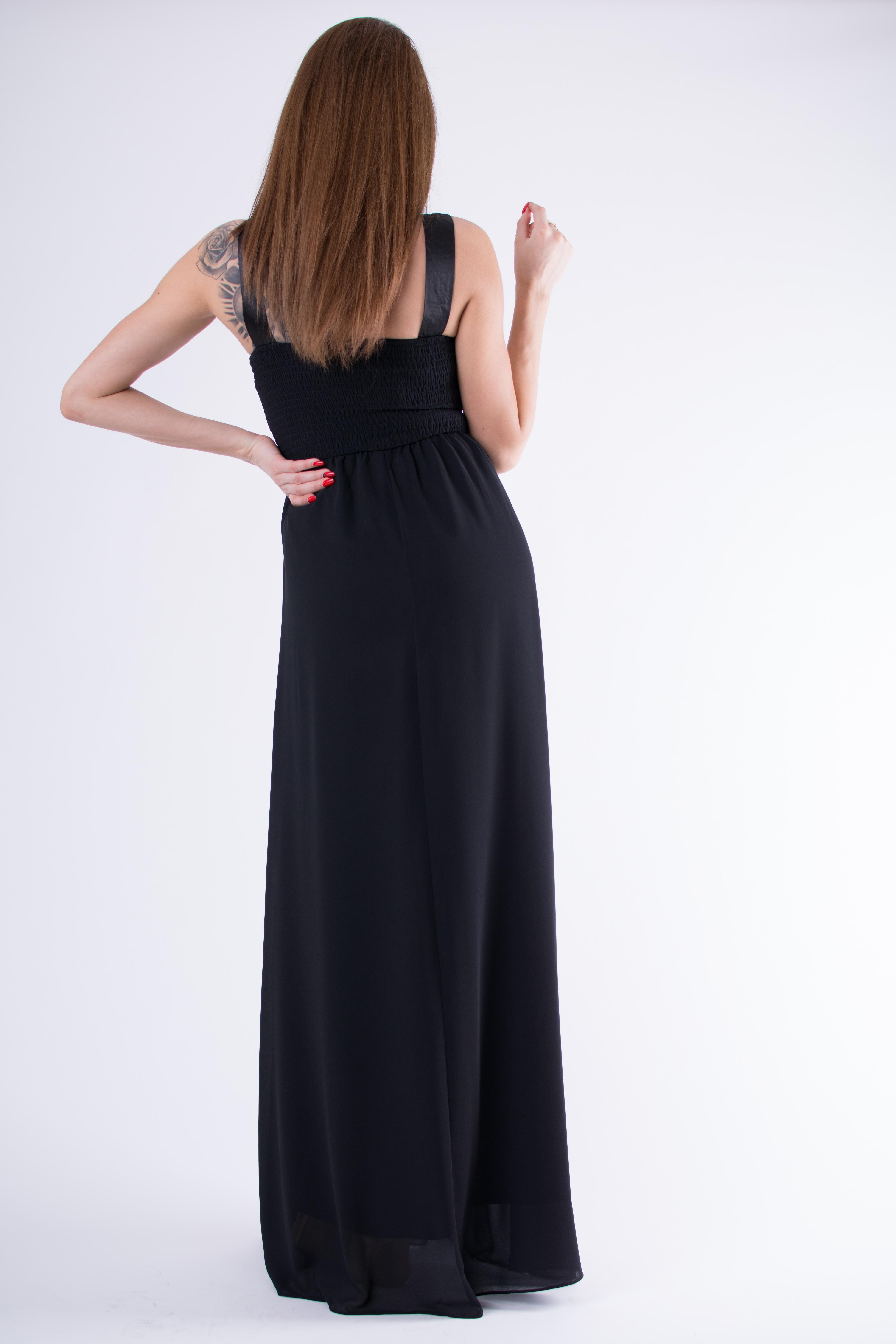 46c384059b43ab Sukienka szyfonowa maxi z koronkową górą czarna · 13Sukienek.pl