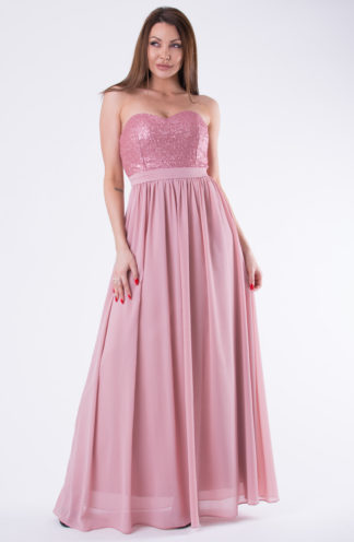 Długa suknia z kokardą różowa