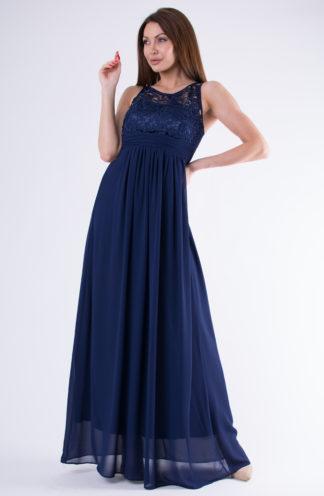 Sukienka szyfonowa z koronkową górą granatowa