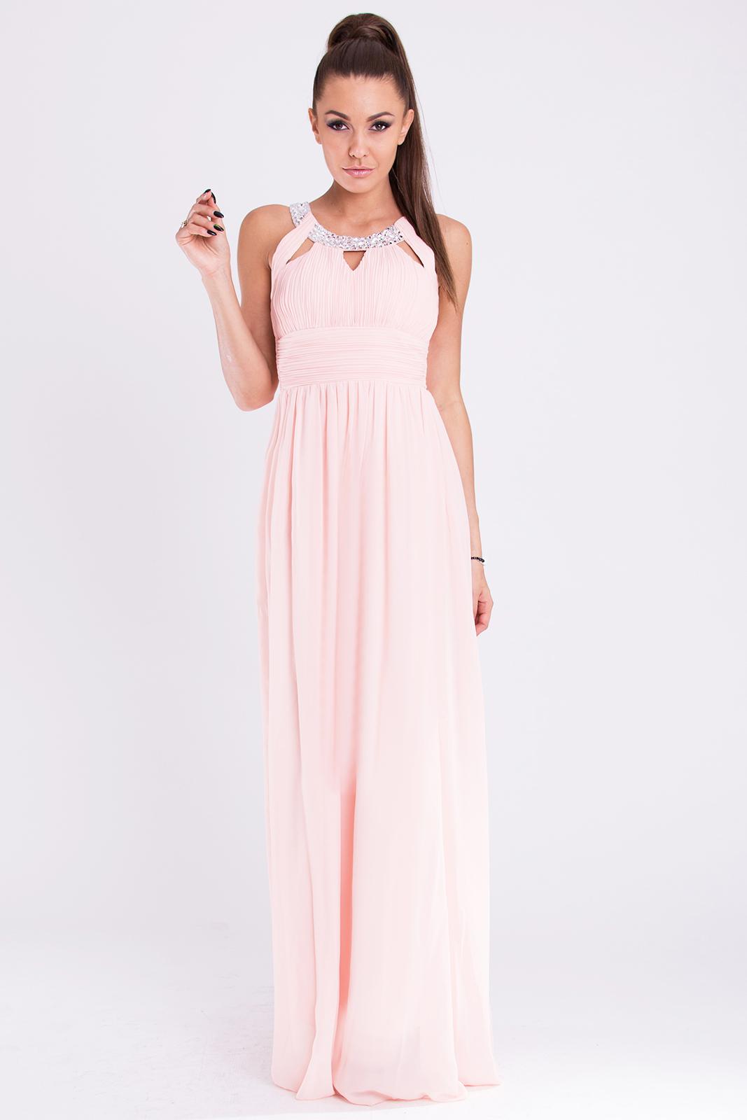Długa suknia z biżuteryjnym dekoltem róż | Sukienki długie