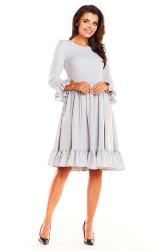 Sukienka midi z falbankami szara