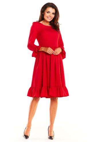 Sukienka midi z falbankami czerwona