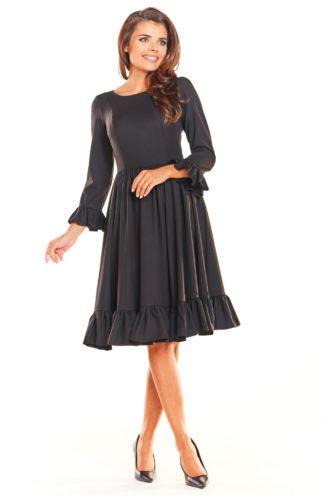 Sukienka midi z falbankami czarna