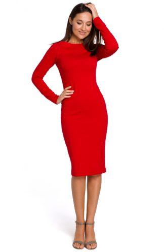 Dopasowana sukienka biznesowa czerwona