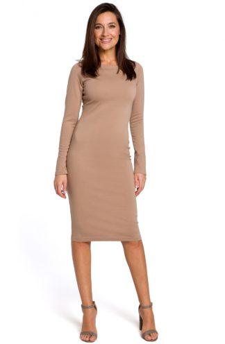 Dopasowana sukienka biznesowa beżowa