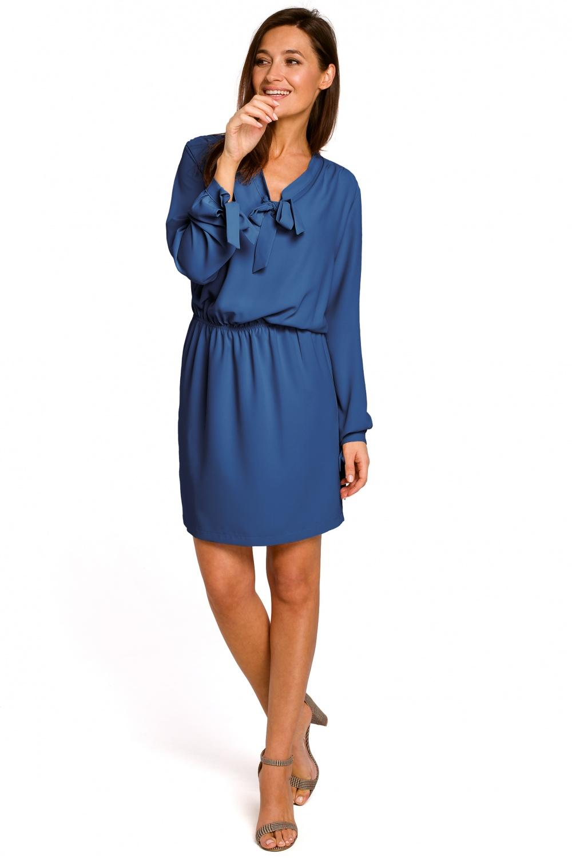 8a81fc23 Luźna sukienka z wiązaniami i gumką niebieska