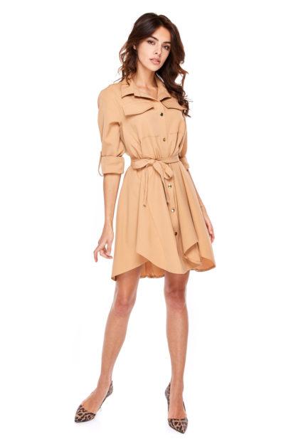 Wiązana sukienka z guzikami ciemny beż