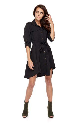 Wiązana sukienka z rękawkiem czarna