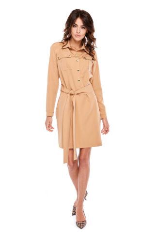 Wiązana sukienka z guzikami beżowa
