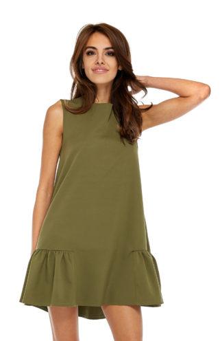 Sukienka z falbaną bez rękawów khaki