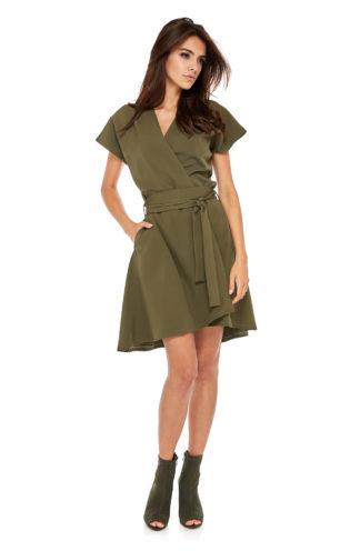 Asymetryczna sukienka do pracy khaki