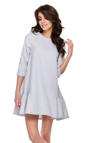 Trapezowa sukienka z falbankami szara