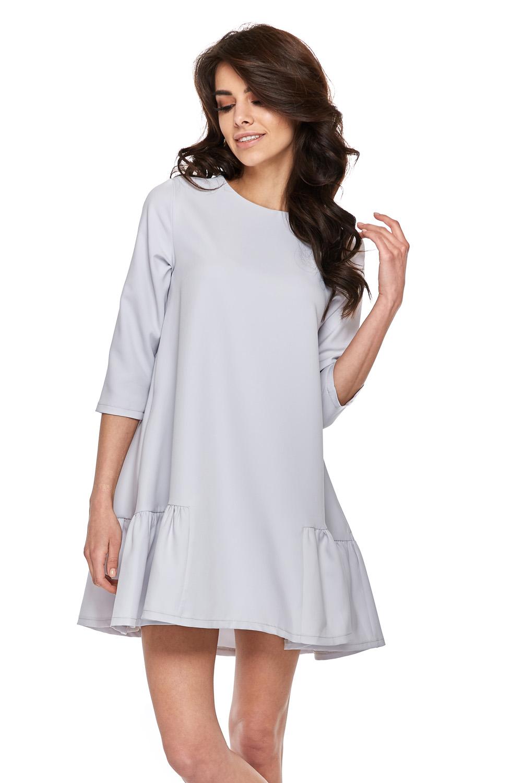 95f5c0ba575cee Trapezowa sukienka z falbankami szara · 13Sukienek.pl