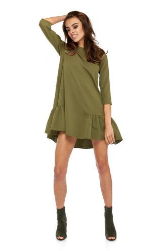Trapezowa sukienka z falbankami khaki