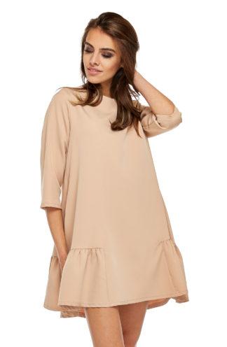 Trapezowa sukienka z falbankami beżowa