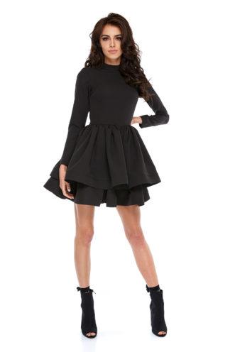 Rozkloszowana sukienka z rękawem czarna