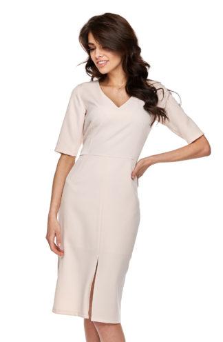 Biznesowa sukienka z rozcięciem i rękawkiem beżowa