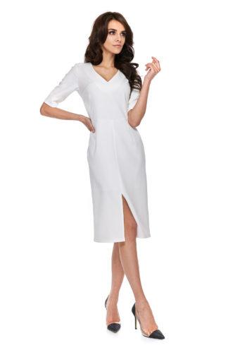Biznesowa sukienka z rozcięciem i rękawkiem biała