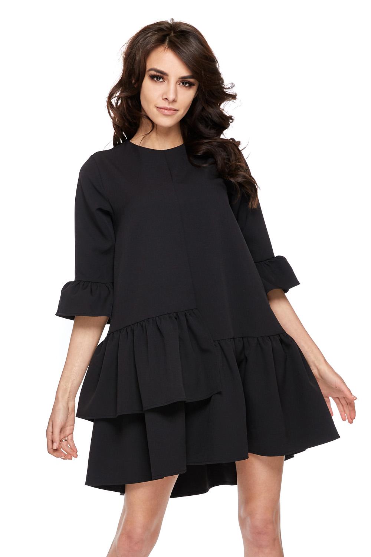 Rozkloszowana sukienka z falbanami i rękawem czarna