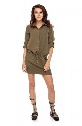 Koszulowa sukienka z kieszeniami khaki