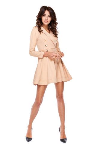 Rozkloszowana sukienka z guzikami beżowa