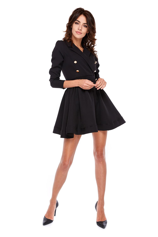 Rozkloszowana sukienka z dwurzędowymi guzikami czarna