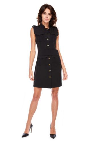 Sukienka ze złotymi guzikami czarna