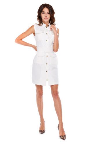Sukienka ze złotymi guzikami biała