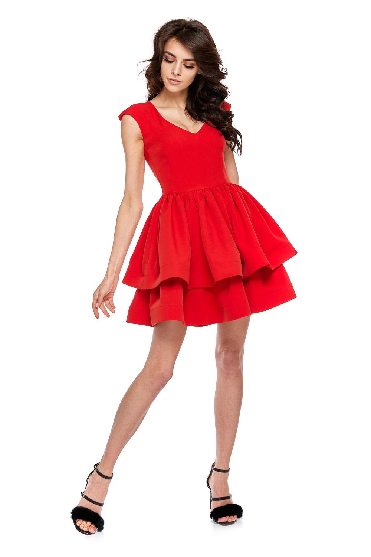 c0d32783ad Rozkloszowana sukienka z dekoltem czerwona · 13Sukienek.pl