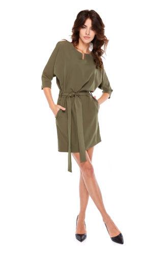 12b3987d94 Asymetryczna sukienka do pracy z kopertowym dekoltem khaki ...