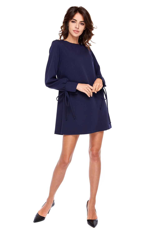 5640c895cb Elegancka sukienka z mankietami z wiązaniem granatowa · 13Sukienek.pl