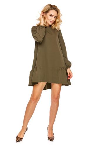 Trapezowa sukienka z falbankami i rękawem khaki