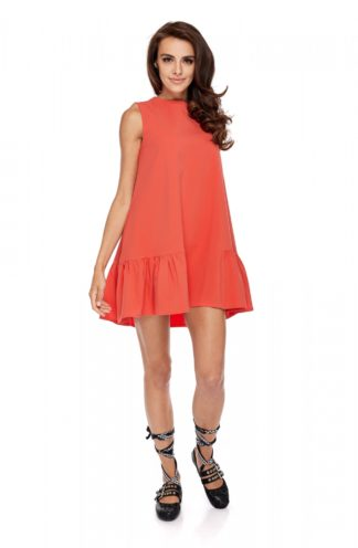Sukienka z falbaną bez rękawów koralowa