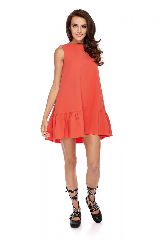 3b7ee08cd8 Rozkloszowana sukienka z falbaną bez rękawów koralowa · 13Sukienek.pl