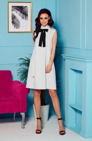 Biznesowa sukienka z kokardą szara