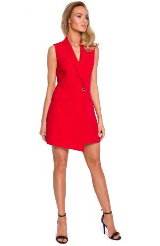 Sukienka żakiet bez rękawów czerwona