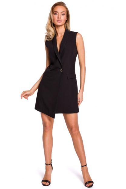 Sukienka żakiet bez rękawów czarna