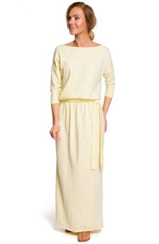 Luźna sukienka maxi z wiązaniem żółta