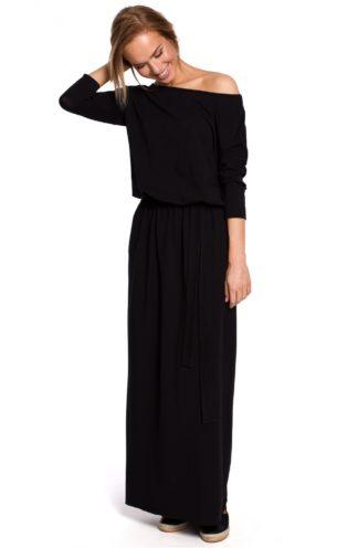 Luźna sukienka maxi z wiązaniem czarna