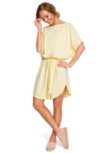 Wiązana sukienka oversize żółty